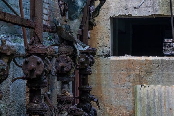 The ruins of Seneca Paper Mill along the Keuka Lake Outlet Trail in Dresden New York
