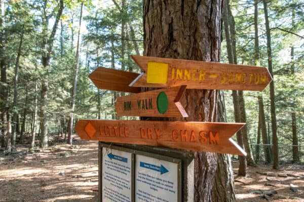 Trail markers at Ausable Chasm near Plattsburgh NY