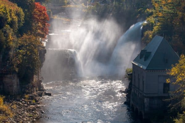 Rainbow Falls at Ausable Chasm in New York