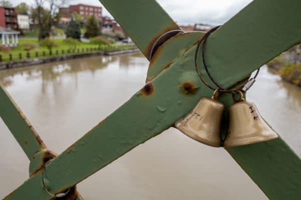Bells on the It's a Wonderful Life Bridge in Seneca Falls NY