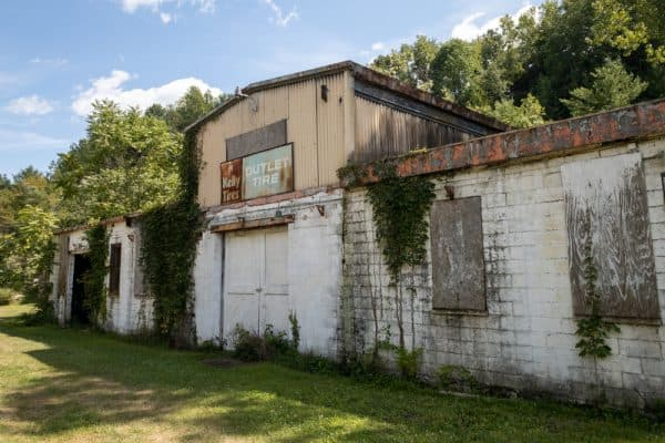 Abandoned building on the Keuka Lake Outlet Trail in Yates County New York