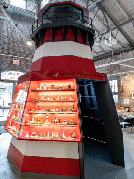 Replica lighthouse at the National Lighthouse Museum on Staten Island New York