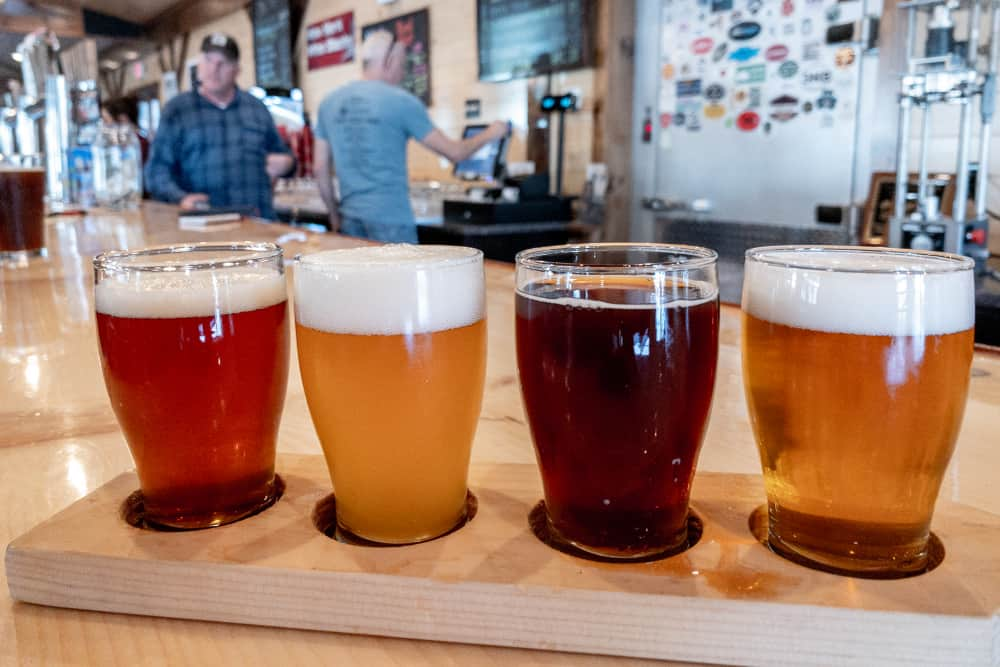 Flight of beers at Raquette River Brewing in Tupper Lake NY