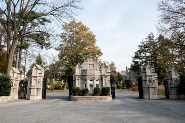 The Jerome Avenue entrance to Woodlawn Cemetery in the Bronx, New York