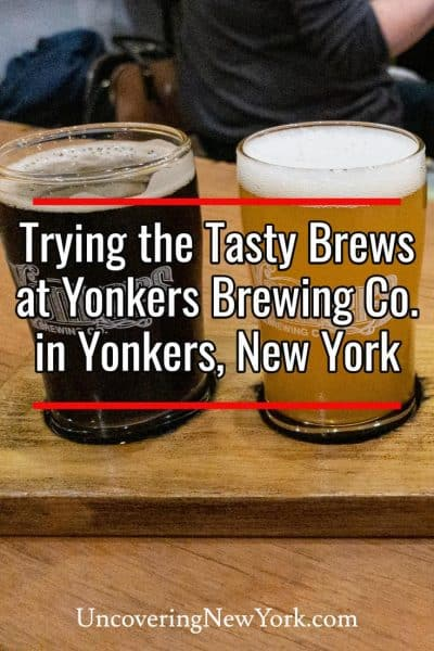 Trying the beers at Yonkers Brewing Company in Westchester County, New York