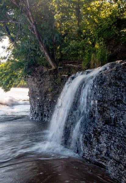 Barcelona Falls drops into Lake Erie in Chautauqua County NY