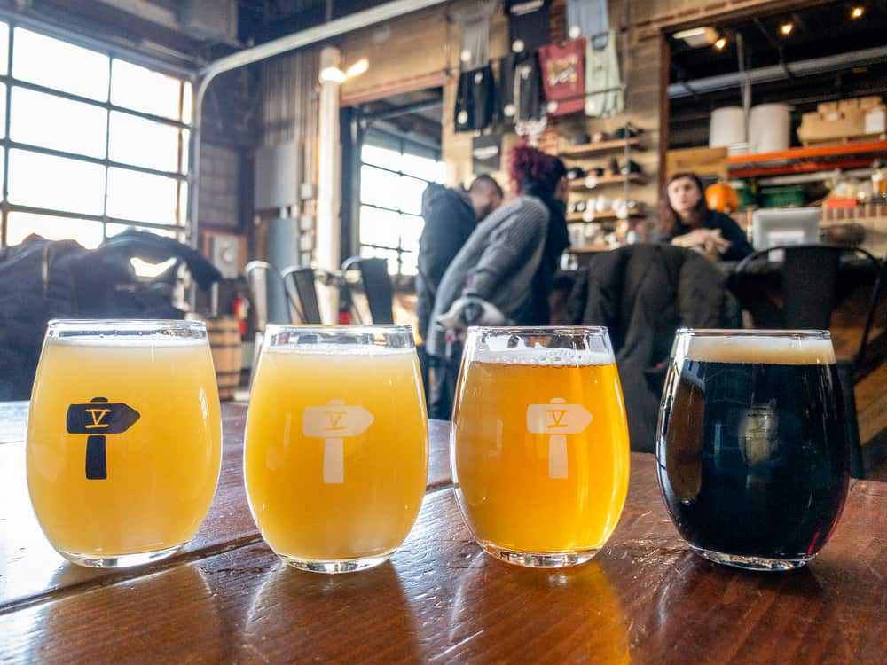 Flight of beers at Fifth Hammer Brewing Company in Queens, New York
