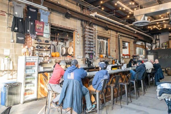 The tasting room at Fifth Hammer Brewing Co in Queens NY