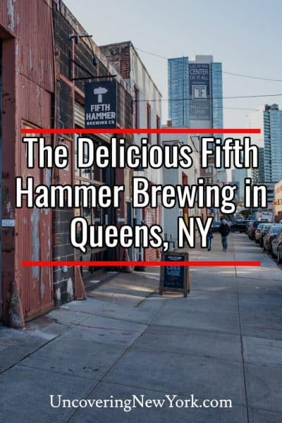 Sampling the delicious beers at Fifth Hammer Brewing in Queens, New York