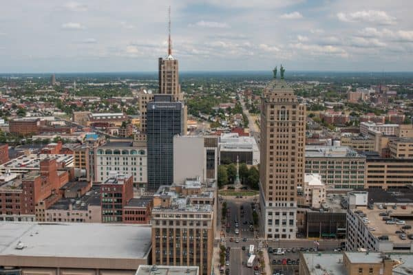 Overlooking downtown Buffalo NY from the observation deck at Buffalo City Hall