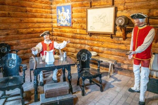 Soldier diorama in Fort William Henry in Warren County New York