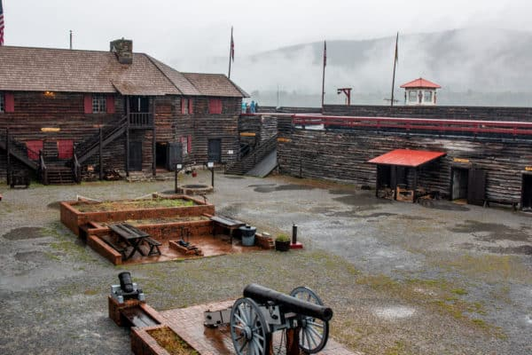 Open area in the center of Fort William Henry in the Adirondacks.