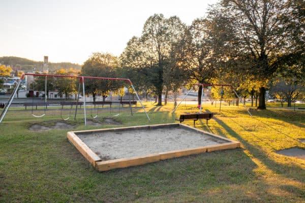 Swing set in Kirk Douglas Park in Amsterdam, New York