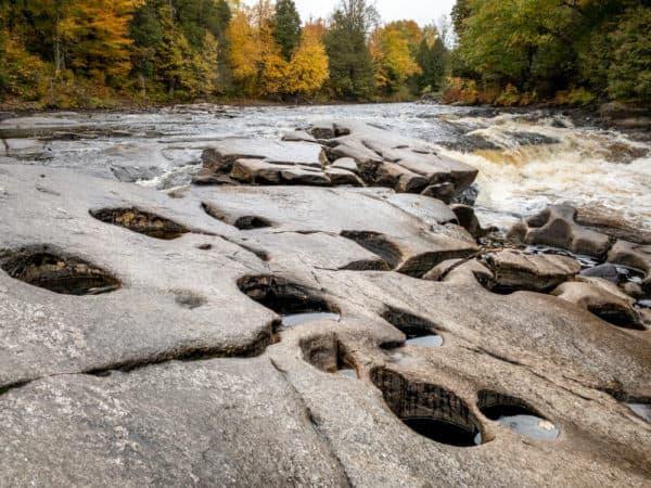 Natural potholes at Hart's Falls Preserve near Pyrites NY
