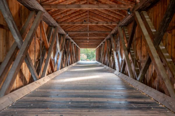 Inside Jay Covered Bridge in Essex County NY