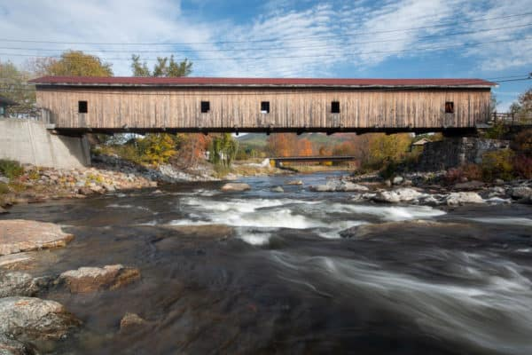 Jay Covered Bridge from the Ausable River near Lake Placid NY