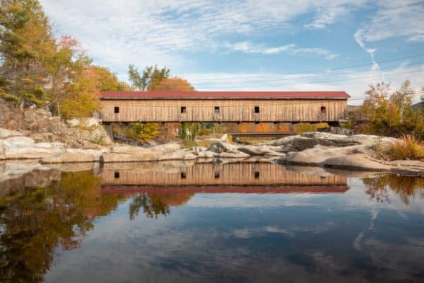 Reflection of Jay Covered Bridge in the Adirondacks of New York