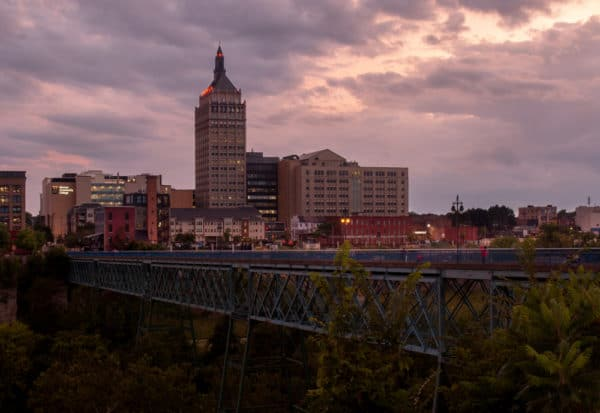 Overlooking downtown Rochester and the Pont de Rennes Bridge.