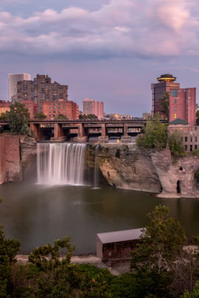 High Falls in Rochester New York at sunset