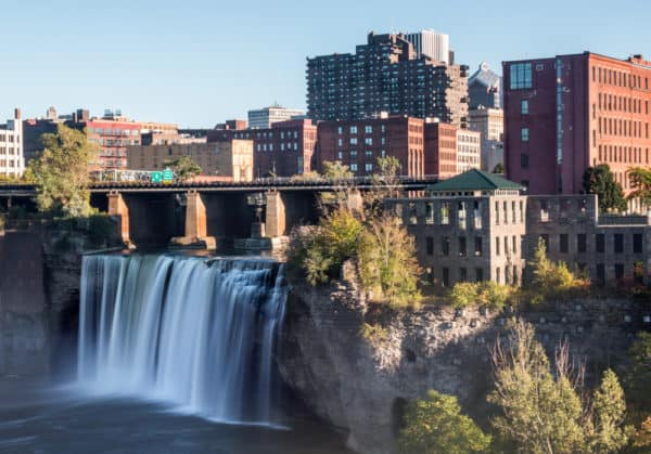 High Falls from the Pont de Rennes Bridge in Rochester NY