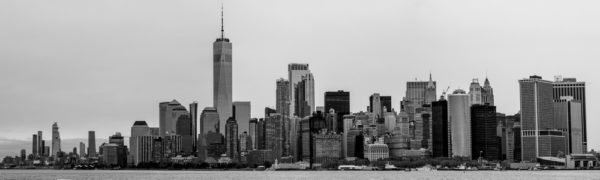 Skyline of New York City in black and white