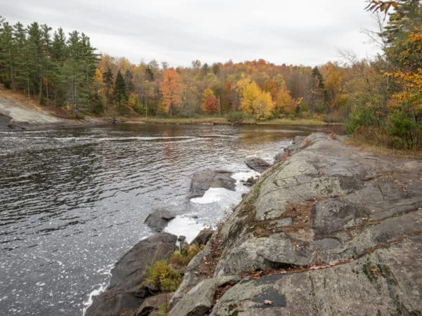 Rock ledge along the Grass River at Lampson Falls in the Adirondacks