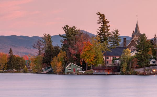 Puzzle of Lake Placid, New York at Sunset