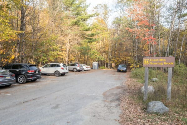 Parking area for Roaring Brook Trail in the Adirondacks