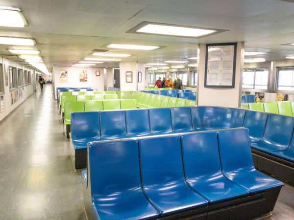 Seating area inside the Staten Island Ferry in New York City