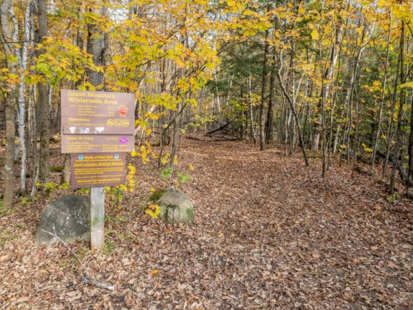 The trailhead for the hike to Roaring Brook Falls in Essex County, NY