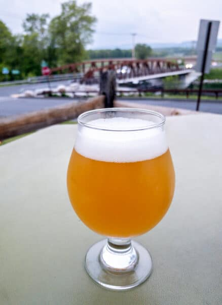 Beer on the patio at Clemson Bros. Brewing in New Paltz, New York