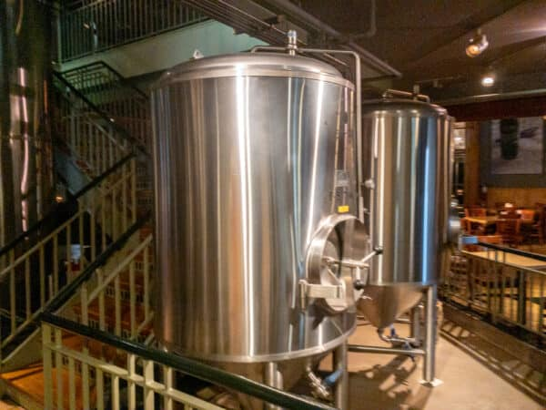 Brewing kettle at the Gilded Otter in New Paltz New York