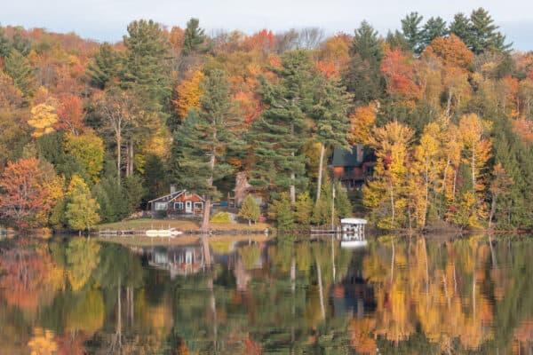 Fall at Flower Lake in Saranac Lake New York