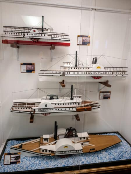 Models of steamboats in the Finger Lakes Boating Museum in Steuben County New York