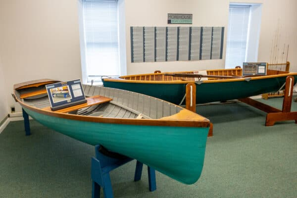 Two canoes in the Finger Lakes Boating Museum in Hammondsport NY
