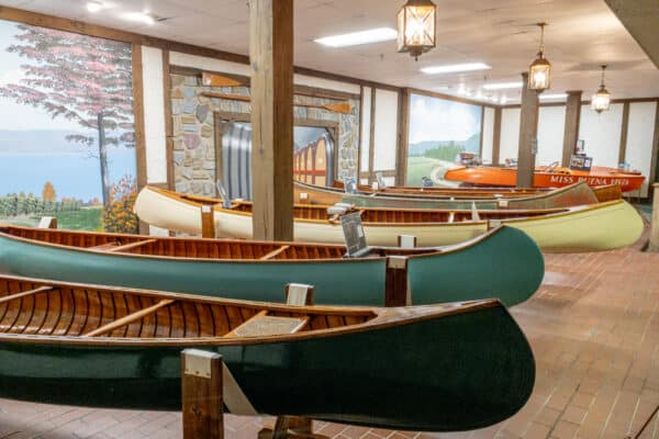 Canoes in the Finger Lakes Boating Museum in Hammondsport New York