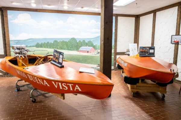 Speed boats in the Finger Lakes Boating Museum in Steuben County New York