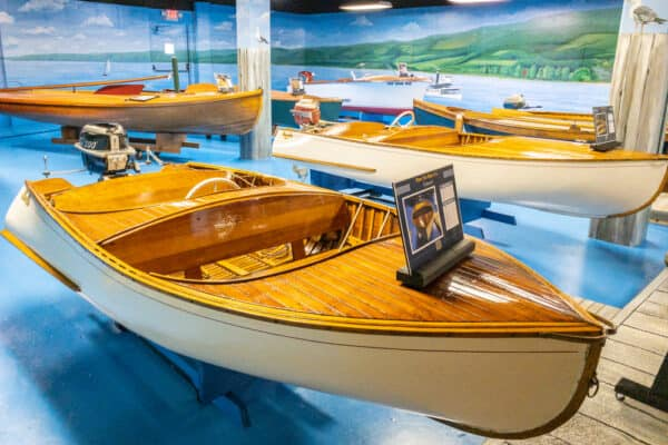Boats on display at the Finger Lakes Boating Museum in Hammondsport, NY