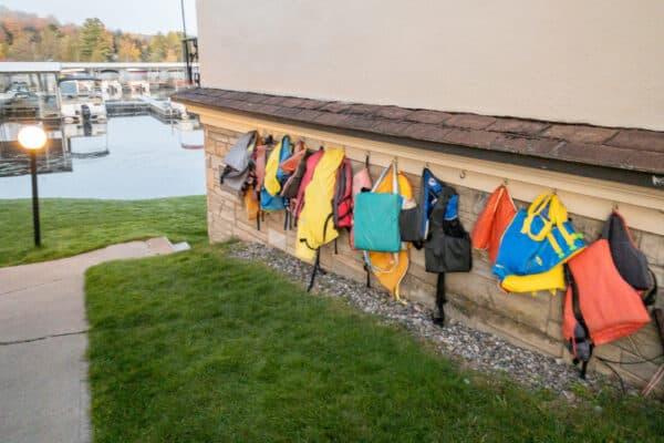 Lifejackets on the wall at Gauthiers Saranac Lake Inn