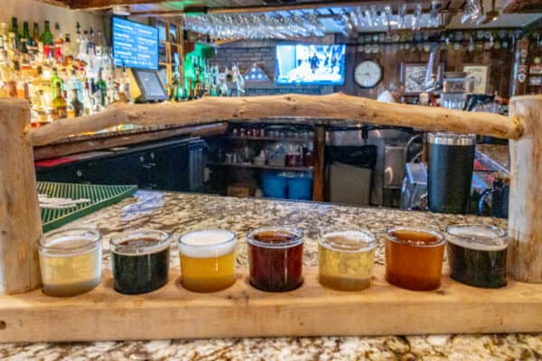 A flight of beer at Great Adirondack Brewing in downtown Lake Placid, NY