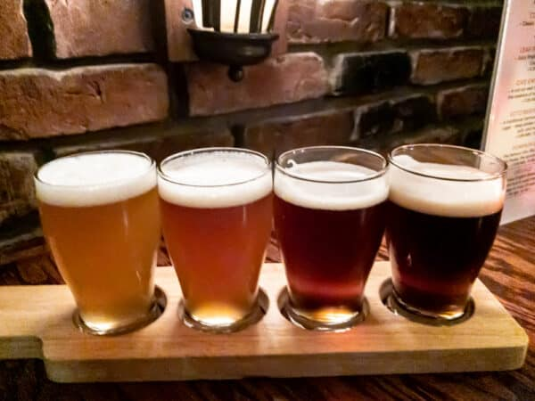 Flight of beers at Lake Placid Brewing in Essex County NY