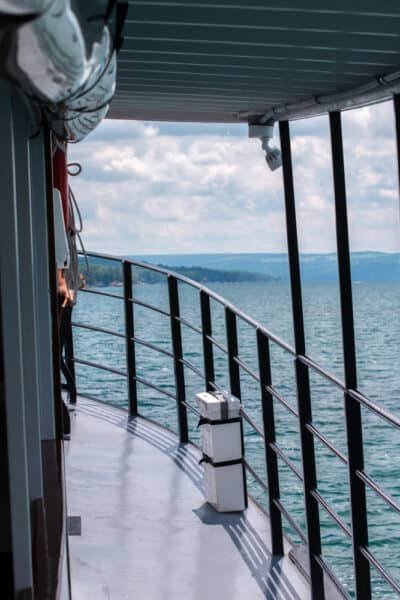 The upper deck of the Judge Ben Wiles on Skaneateles Lake in New York