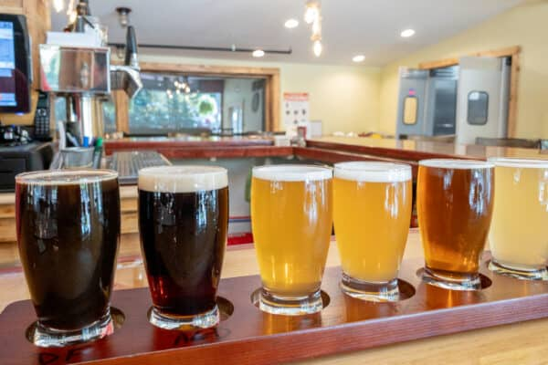 Flight at Ray Brook Brewhouse's brewery in Lake Placid New York