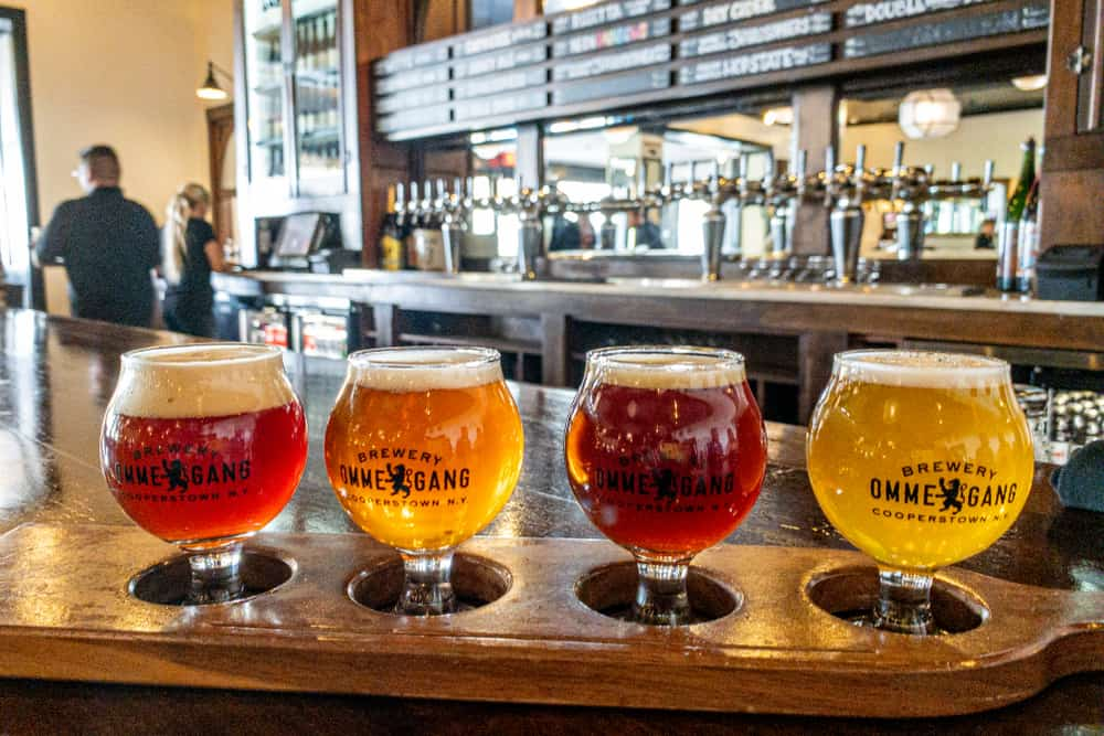 Flight of beers at Brewery Ommegang in Cooperstown, New York