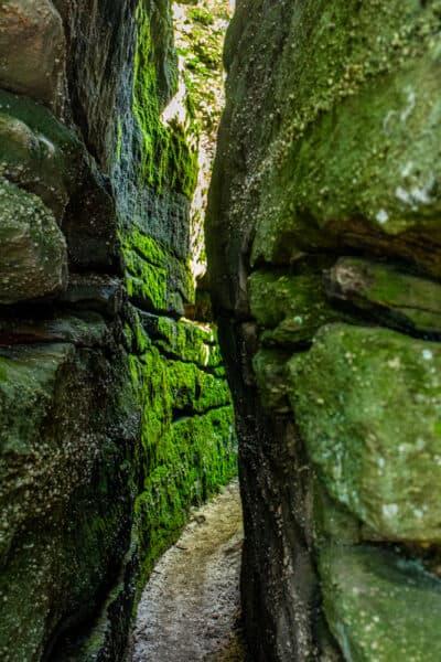 Passage between rocks in New York's Rock City Park