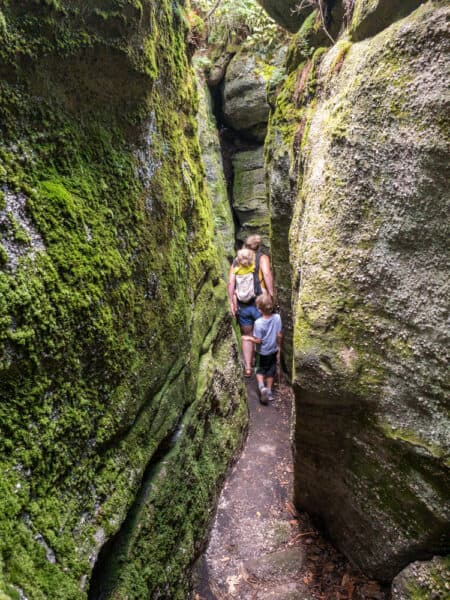 Woman and child hiking through Rock City Park in Cattaraugus County, New York