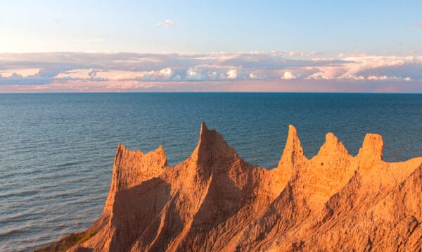 Sunset at Chimney Bluffs State Park in Upstate New York