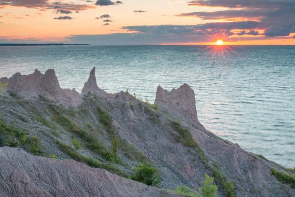 Sunset at Chimney Bluffs State Park in Wolcott New York