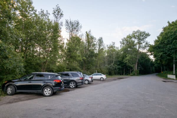 Parking at Chimney Bluffs State Park in Wayne County, New York