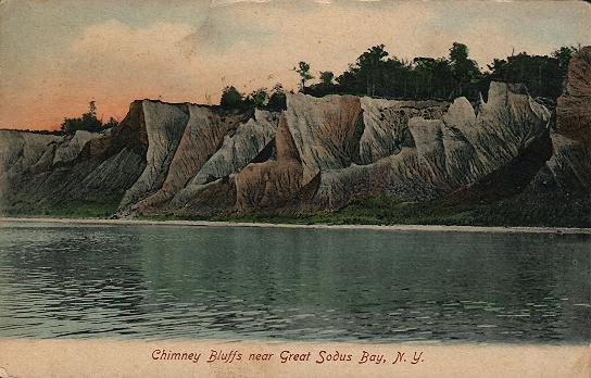 Historic postcard of Chimney Bluffs near Sodus Bay